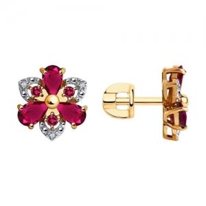 Серьги из золота с бриллиантами и корундами
