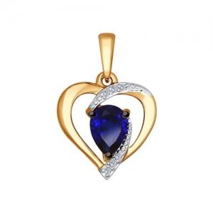 Золотая подвеска Love сапифром и бриллиантом