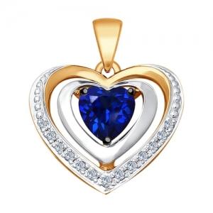 Подвеска в виде Сердца из золота с бриллиантами и синим корунд (синт.)