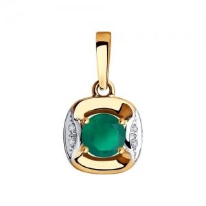 Подвеска из золота с бриллиантами и агатом