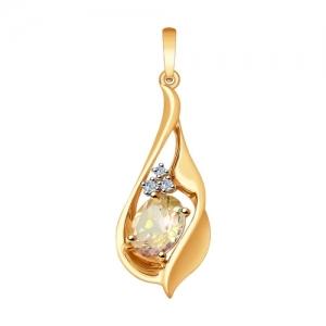 Подвеска из золота с бриллиантами и морганитом