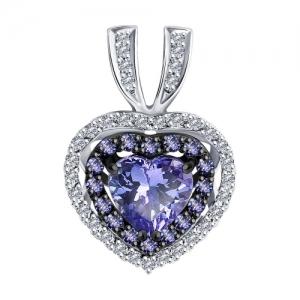 Подвеска Сердце из белого золота с родированием с бриллиантами и танзанитами