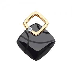 Подвеска из золота с бриллиантом и чёрными керамическими вставками