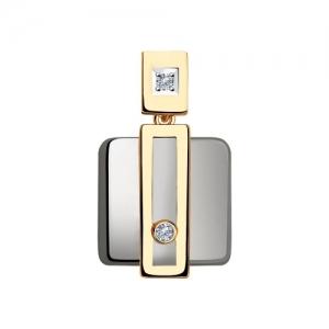 Подвеска из золота с бриллиантами и керамическими вставками