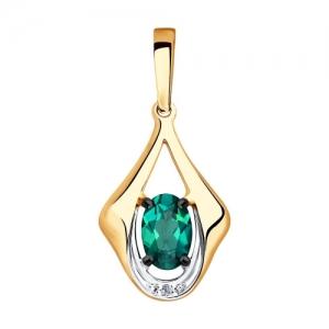 Подвеска из золота с бриллиантом и гидротермальным изумрудом (синт.)