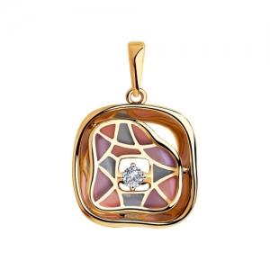 Подвеска из комбинированного золота с эмалью и бриллиантом