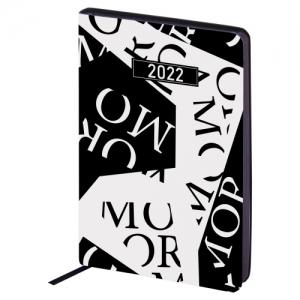 "Ежедневник датированный 2022 А5 138x213 мм BRAUBERG ""Vista"", под кожу, ""Black&White"", 112846"