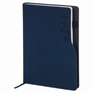 """Ежедневник датированный 2022 А5 138x213 мм BRAUBERG """"Up"""", под кожу, софт-тач, держатель для ручки, синий, 112806"""
