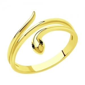 Кольцо из желтого золота с черными облагороженными бриллиантами