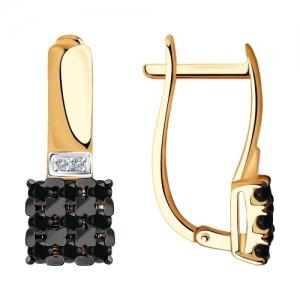 Серьги из золота с черными бриллиантами