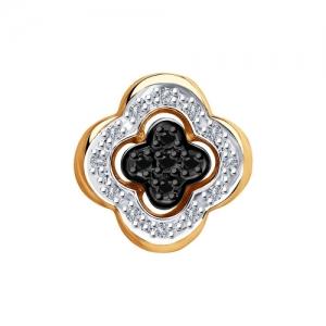 Подвеска из золота с бесцветными и чёрными бриллиантами