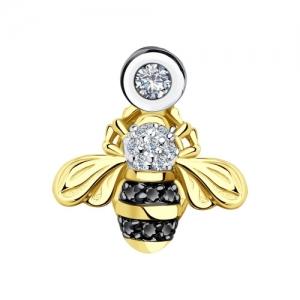Подвеска Пчела из желтого золота с бриллиантами и черными облагороженными бриллиантами
