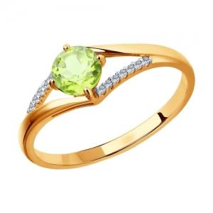 Золотое кольцо с хризолитами