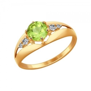 Золотое кольцо с фианитом и хризолитом