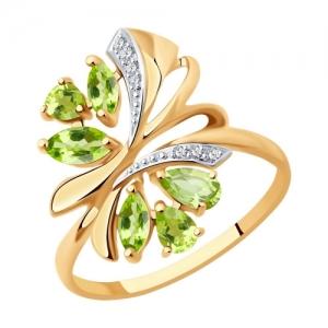 Золотое кольцо Бабочка c хризолитом и фианитами