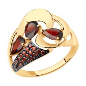 Золотое кольцо с гранатами и красными фианитами