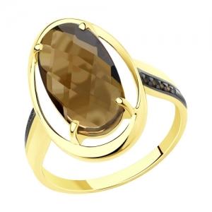 Кольцо из желтого золота с родированием с раухтопазом и фианитами