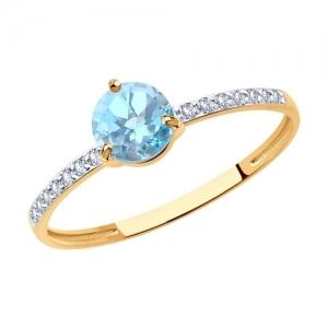 Кольцо из золота с родированием с топазом и фианитами