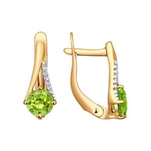 Золотые серьги с хризолитами