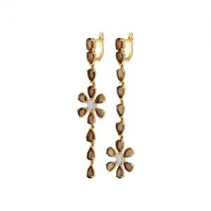 Золотые серьги в виде цветка с раухтопазами
