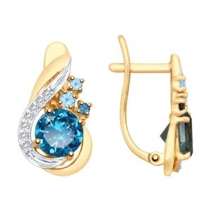 Серьги из золота с голубыми синими топазами и фианитами