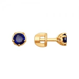 Серьги из золота с синими корунд (синт.)