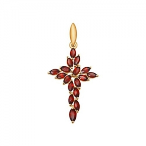 Золотой крестик с гранатами