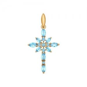 Золотой крестик с топазами