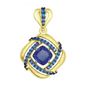 Подвеска из желтого золота с синим корундами (синт.) и синими фианитами