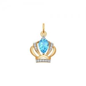Золотая подвеска Корона (Фианит, Топаз)