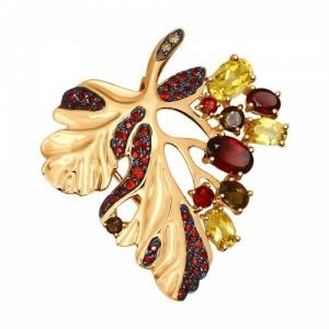 Золотая подвеска Осенний лист с цветными камнями