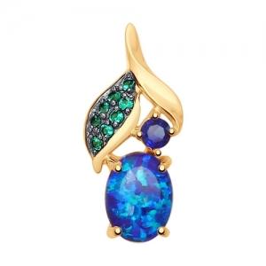 Подвеска из золота с синими корундами (синт.), синими опалами и зелеными фианитами