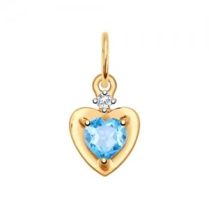 Подвеска из золота с топазом и фианитом в виде Сердца