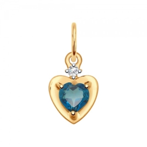Подвеска из золота с синим топазом и фианитом в виде Сердца