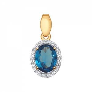 Подвеска из золота с синим топазом и фианитами