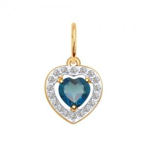 Подвеска Сердце из золота с синим топазом и фианитами