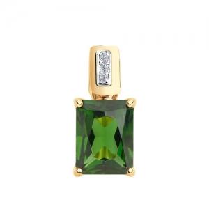 Подвеска из золота с зелёным ситаллом и фианитами