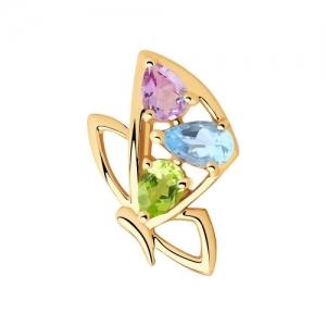 Подвеска бабочка из золота с полудрагоценными вставками