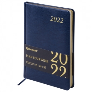 "Еженедельник датированный 2022 А5 145х215 мм BRAUBERG ""Iguana"", под кожу, синий, 112870"