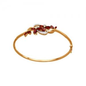 Золотой браслет «Цветы» c гранатами и фианитами