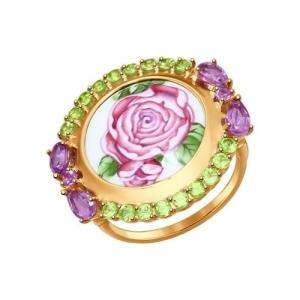 Золотое кольцо с цветами (Аметист, Хризолит)