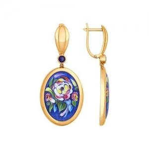 Золотые серьги-висюльки с цветами (ГТ сапфир)