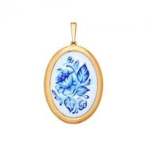 Золотая подвеска Цветы (Финифть)