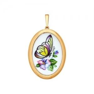 Золотая подвеска Бабочка с финифтью