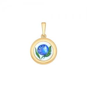 Золотая подвеска Ягода (Финифть)