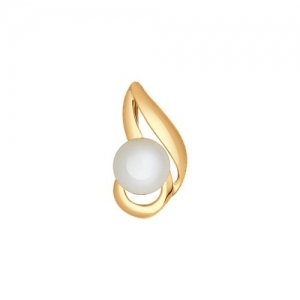 Золотая подвеска с белым жемчугом