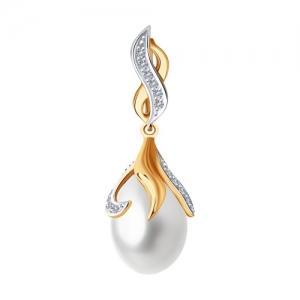 Подвеска из золота с бриллиантами и жемчугом