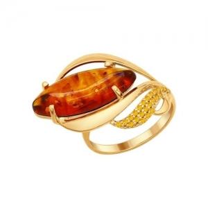 Кольцо из золочёного серебра с жёлтыми фианитами и янтарём