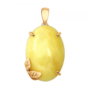 Подвеска из золочёного серебра с янтарём