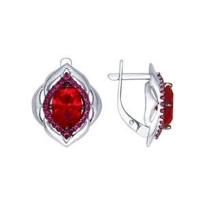Серьги из серебра с корундами рубиновыми (синт.) и красными фианитами